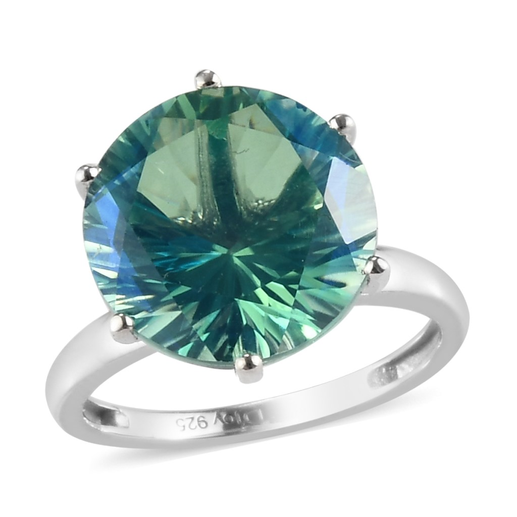 Peacock Quartz solitaire ring in sterling silver.