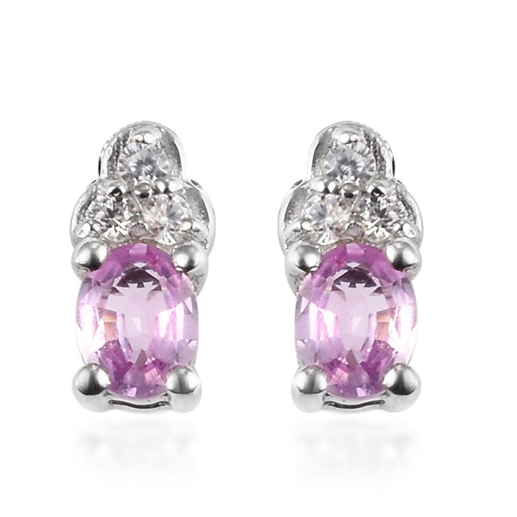 Pink sapphire stud earrings in sterling silver.
