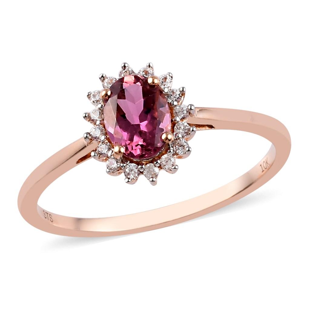 Rose gold pink tourmaline ring.