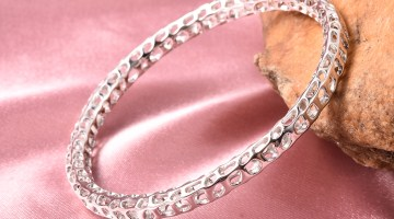 Rachel Galley bangle in sterling silver.