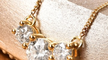 Moissanite doorbusters necklace in yellow gold.