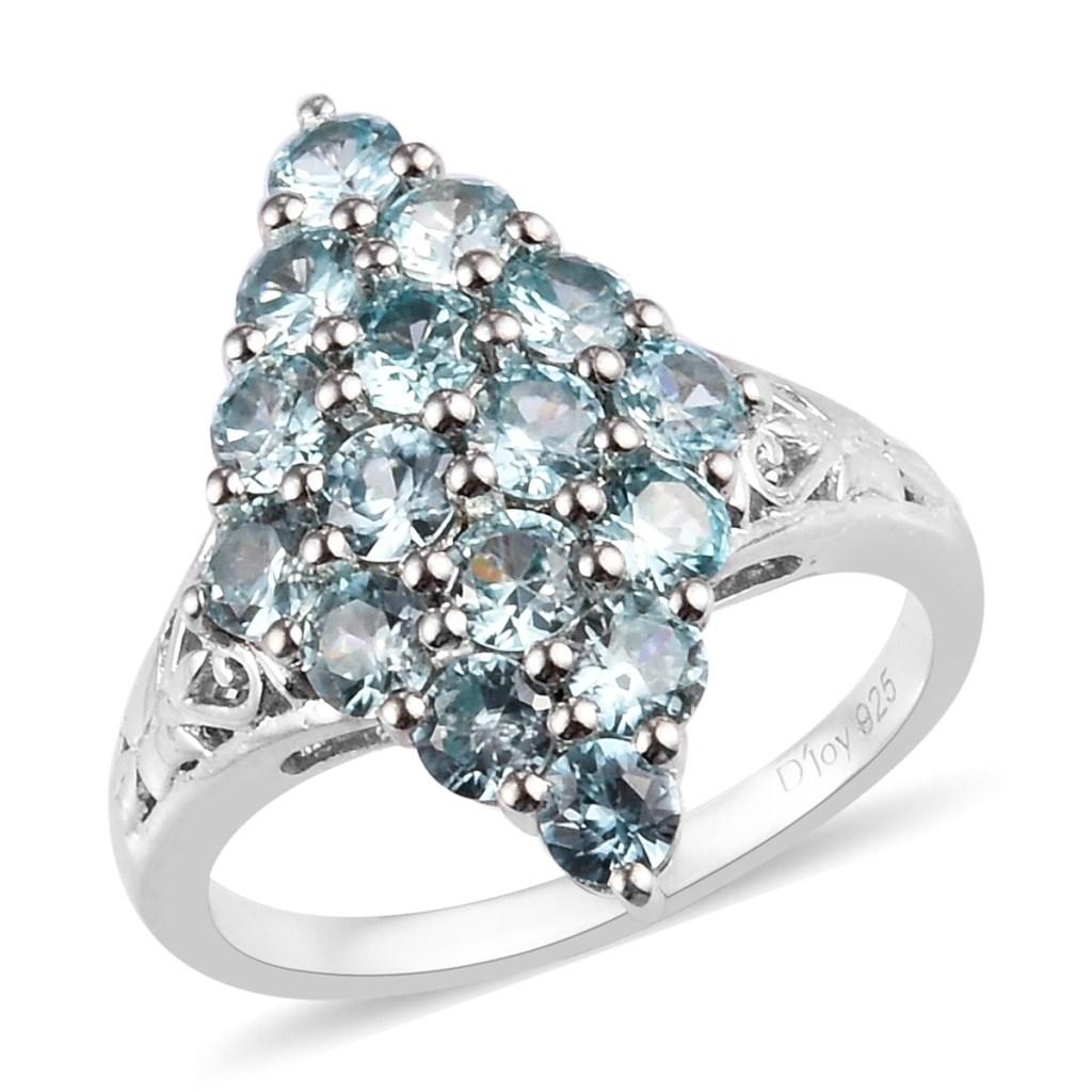 Blue zircon cluster ring.