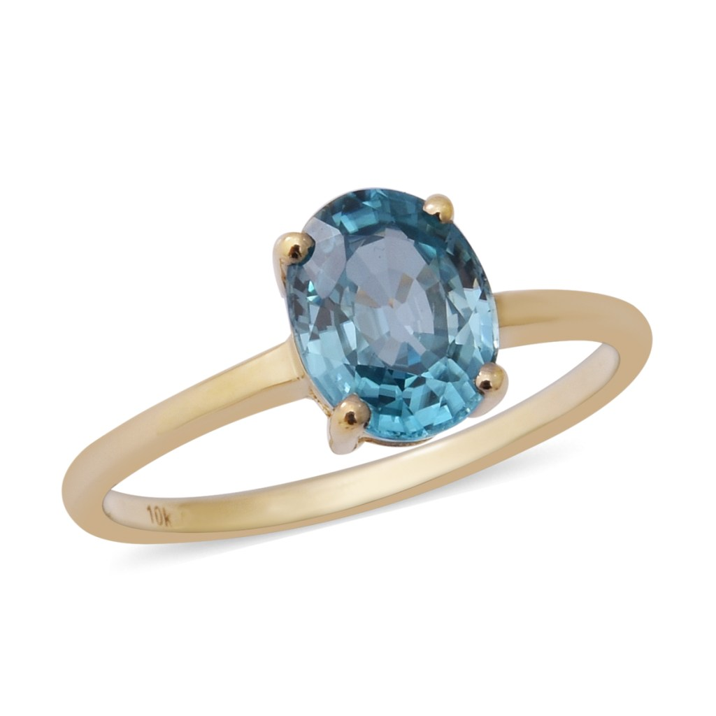 Blue solitaire ring.