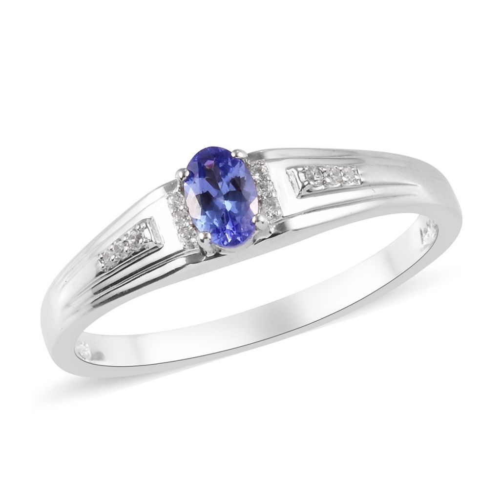 Modern tanzanite men's ring in sterling silver with platinum finish.