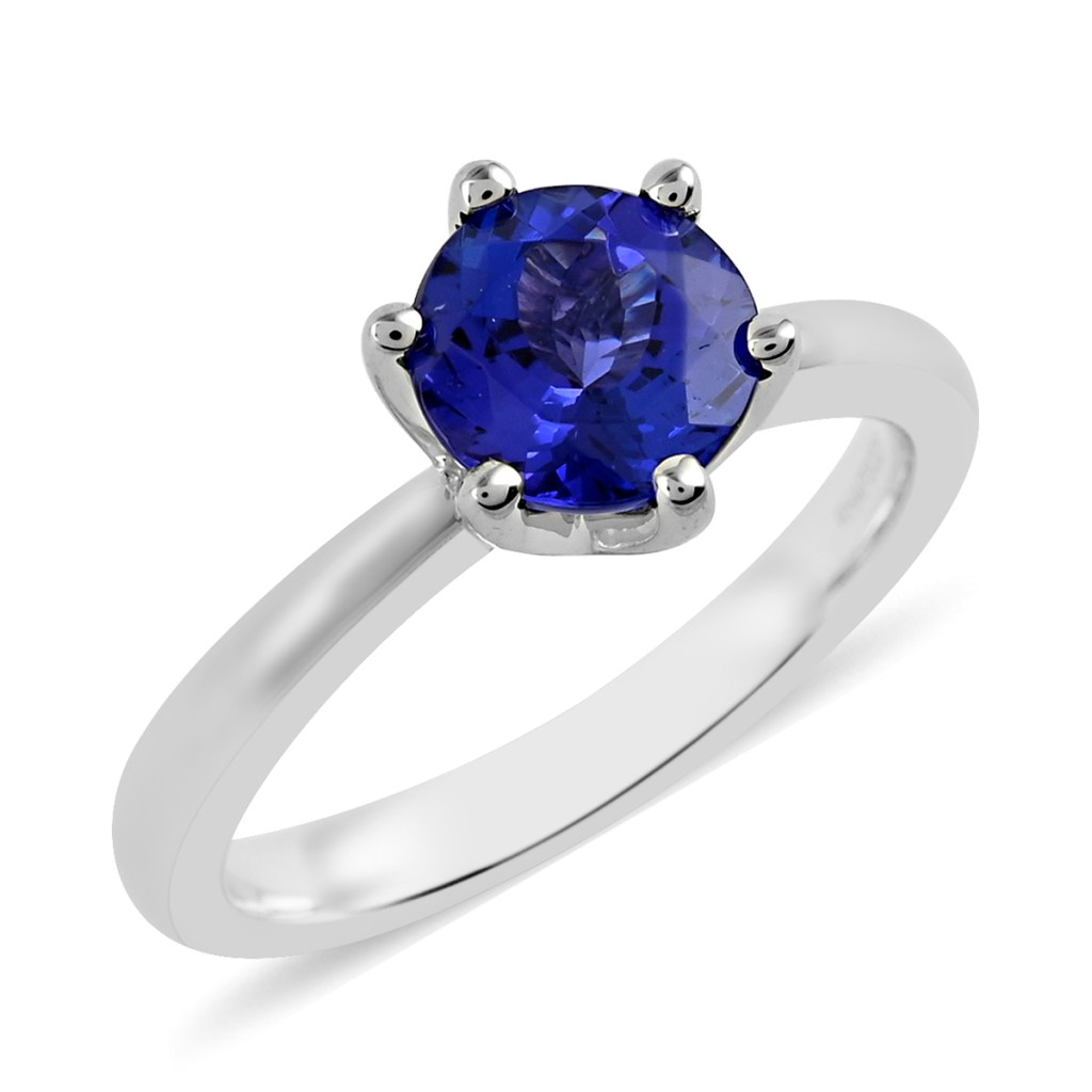 AAAA tanzanite solitaire ring in platinum.