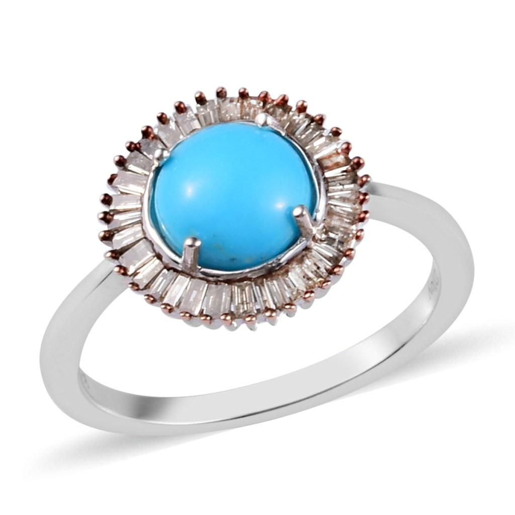 Blue gemstone halo ring.
