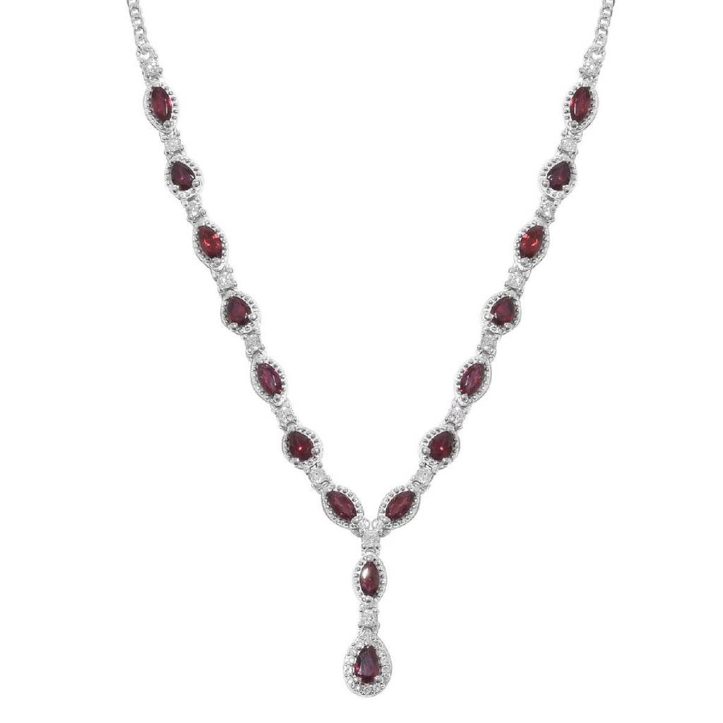 Red y-necklace in sterling silver.