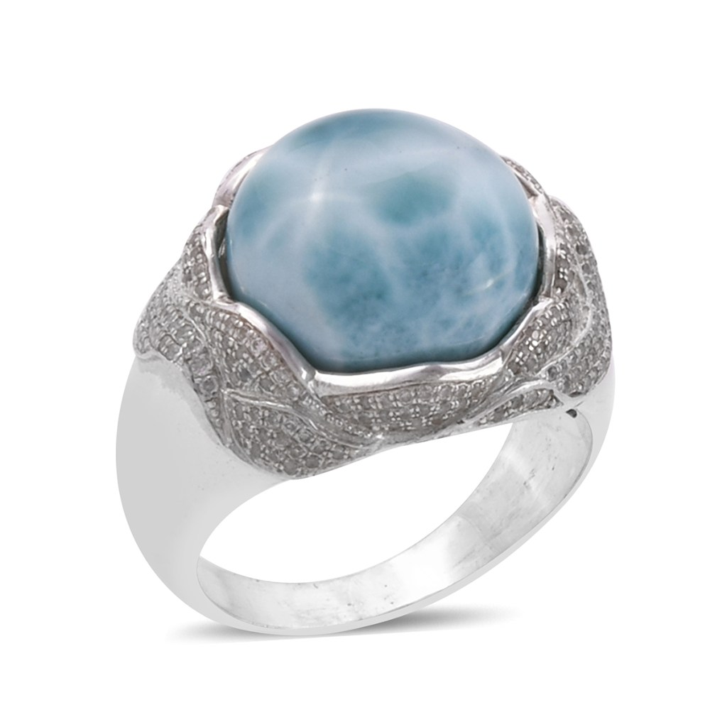 Bali silver ring with larimar stone.