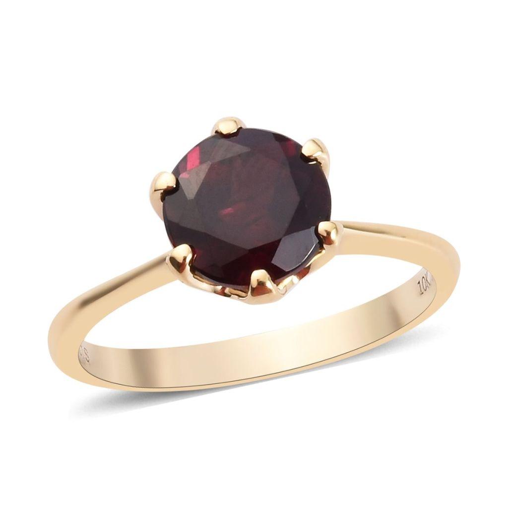 Gold garnet ring.