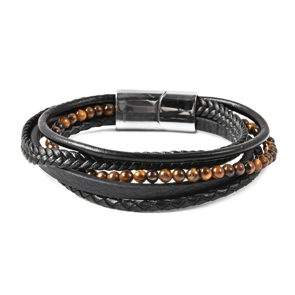 Men's stacking bracelet with brown gemstone accents.