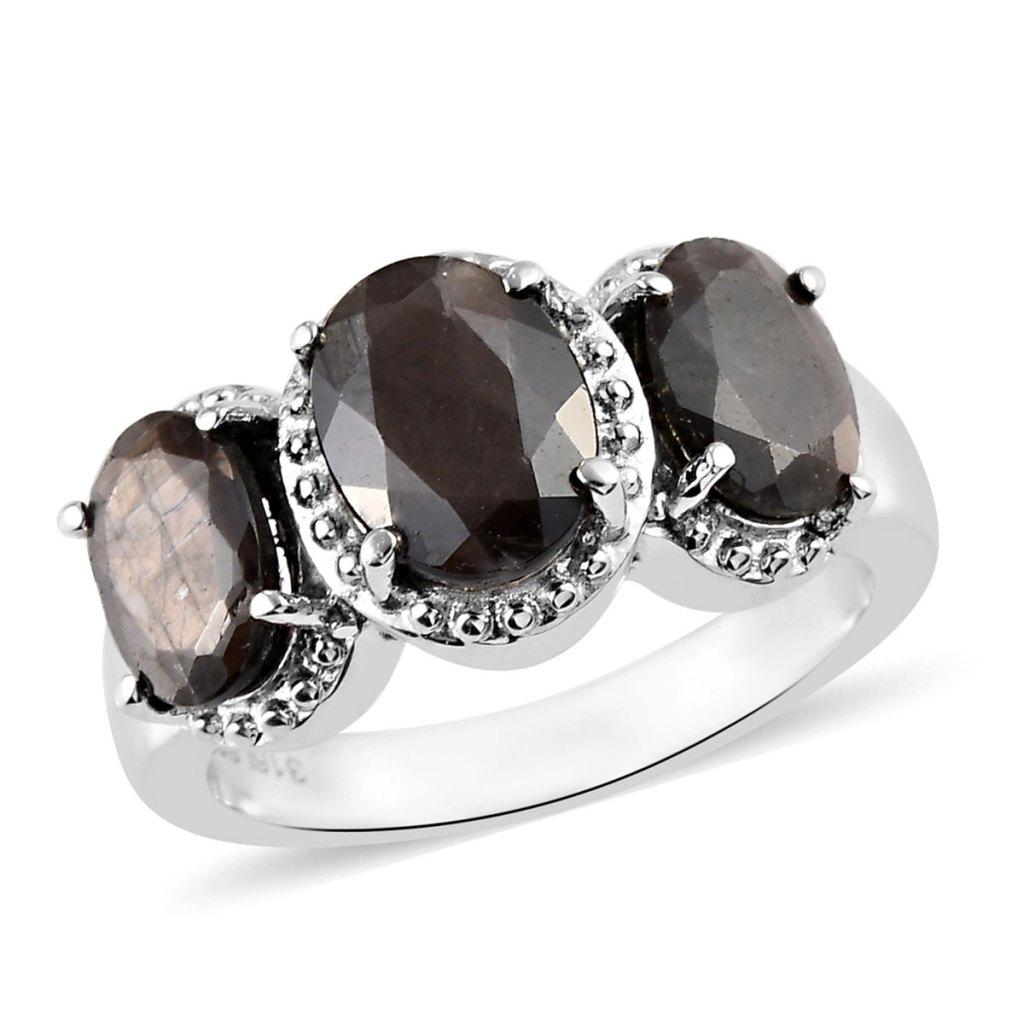 Gray sapphire three stone ring.