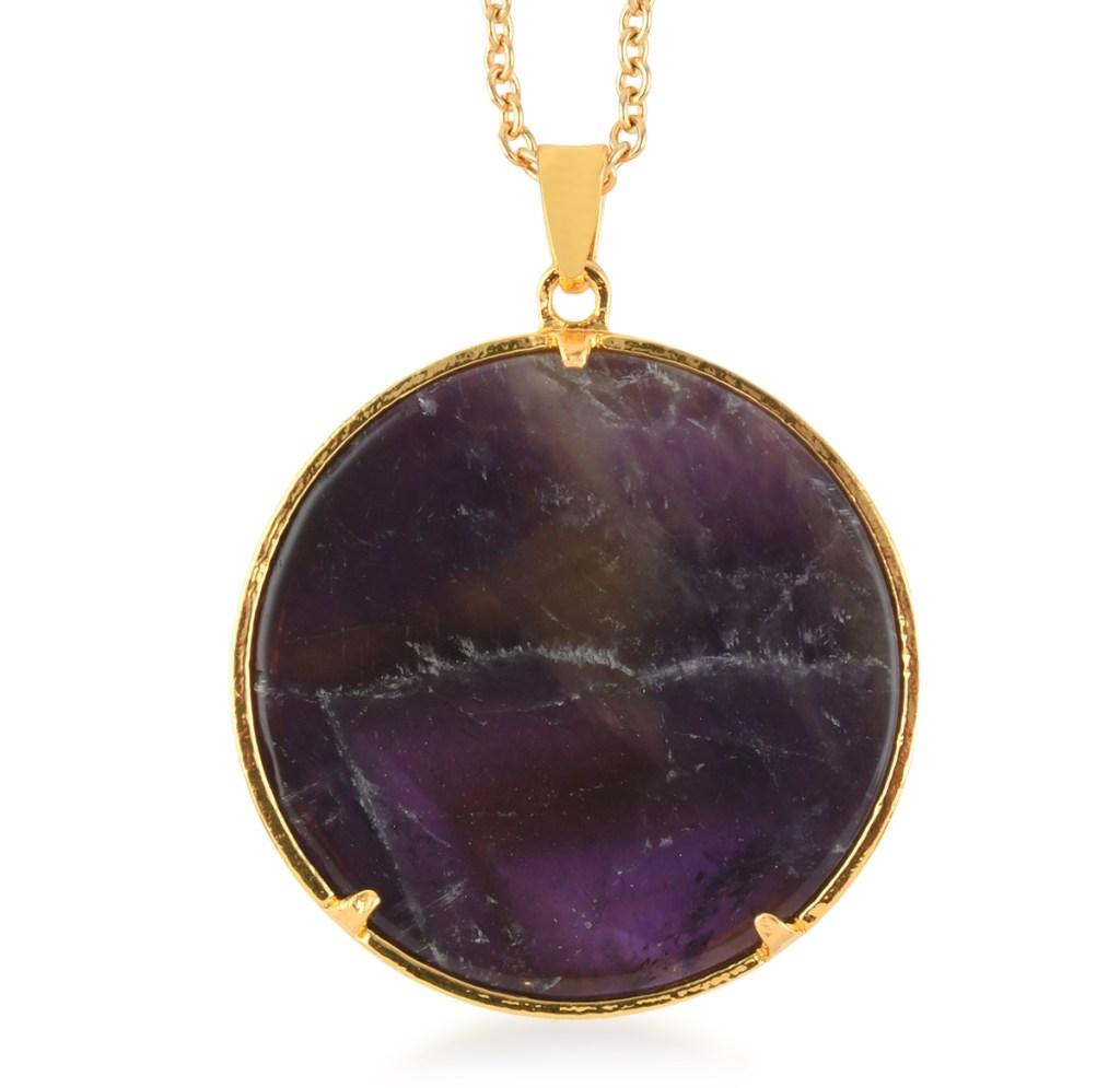 Round purple gemstone pendant.