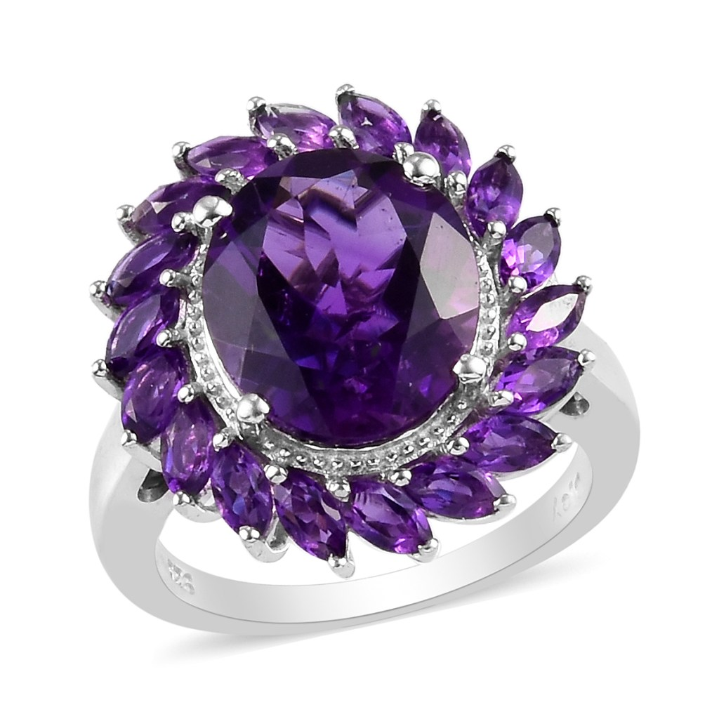 Purple halo ring in sterling silver.