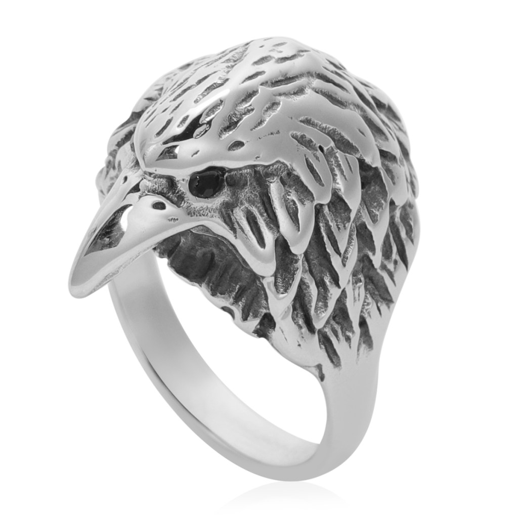 Men's eagle ring in stainless steel.