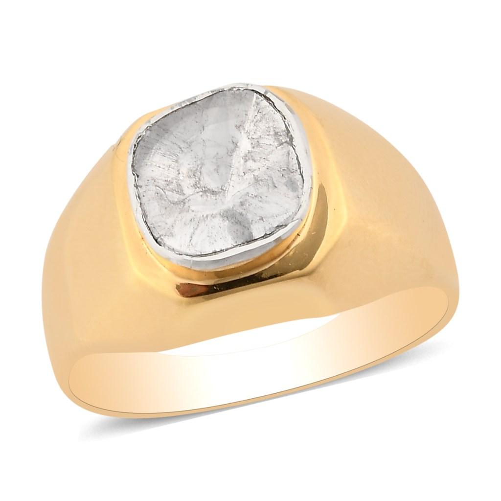 Polki diamond yellow fold ring for men.