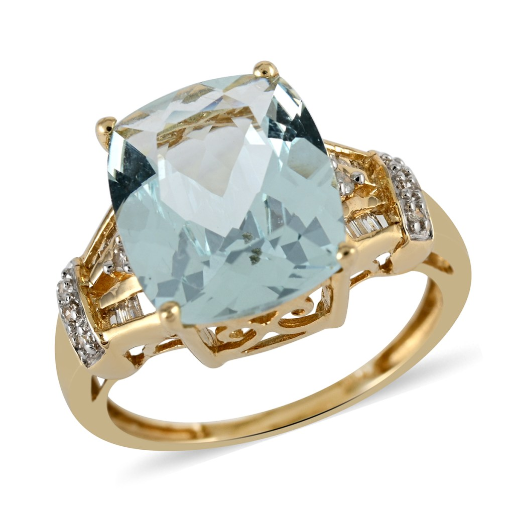Light blue gold ring.