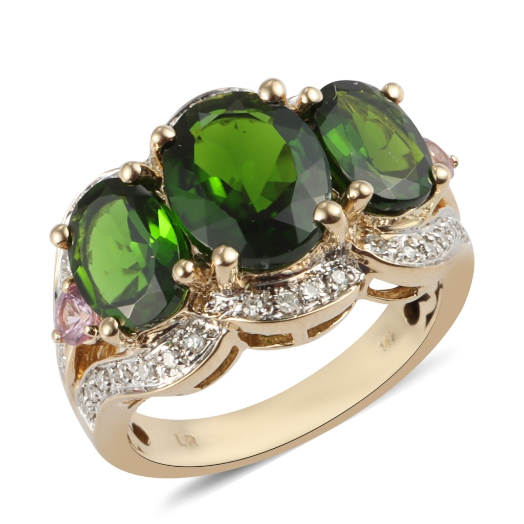 14K yellow gold chrome diopside three stone ring.