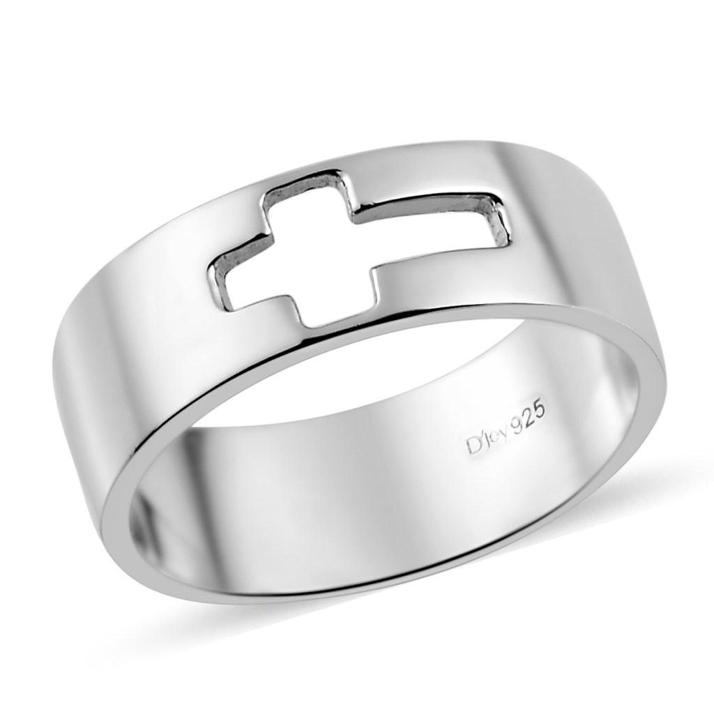 Sterling silver men's cross ring.