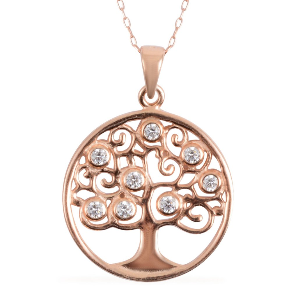 14K rose gold plated Tree of Life pendant.