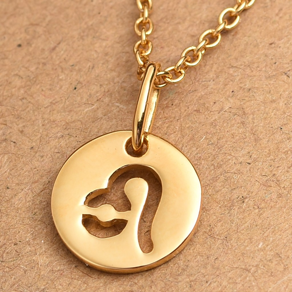 Stainless steel Leo pendant with gold ion plating.