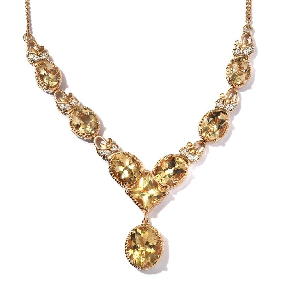 Yellow gemstone y-necklace.