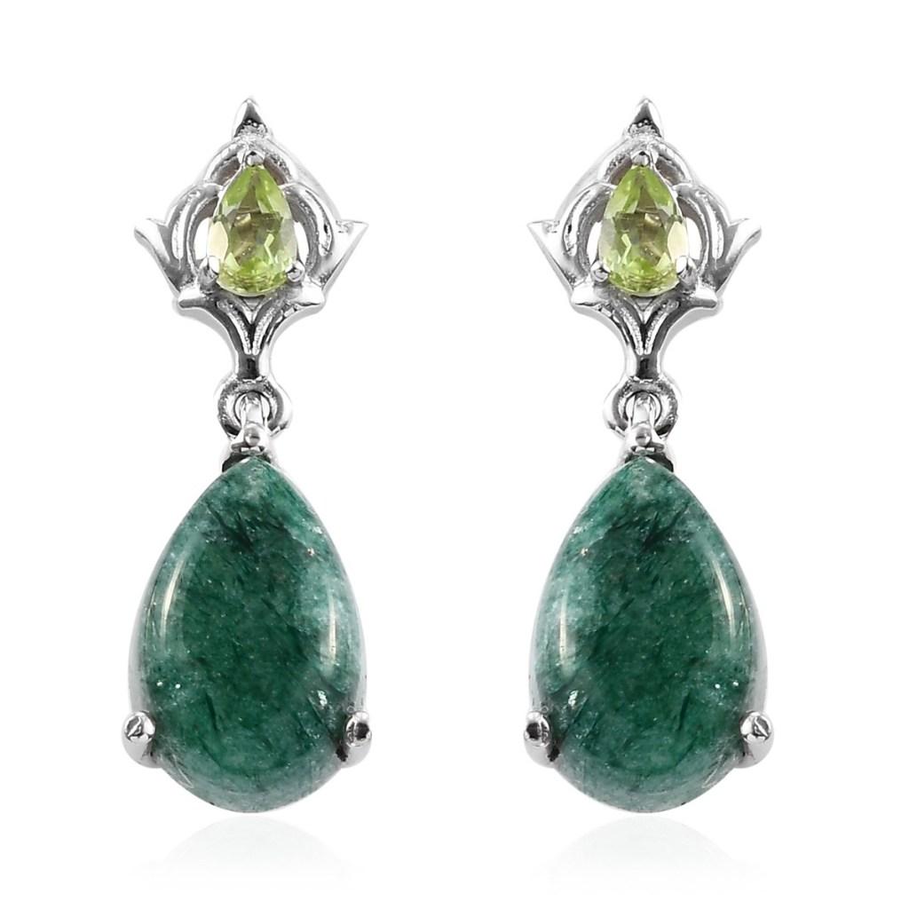 aventurine peridot dangle earrings
