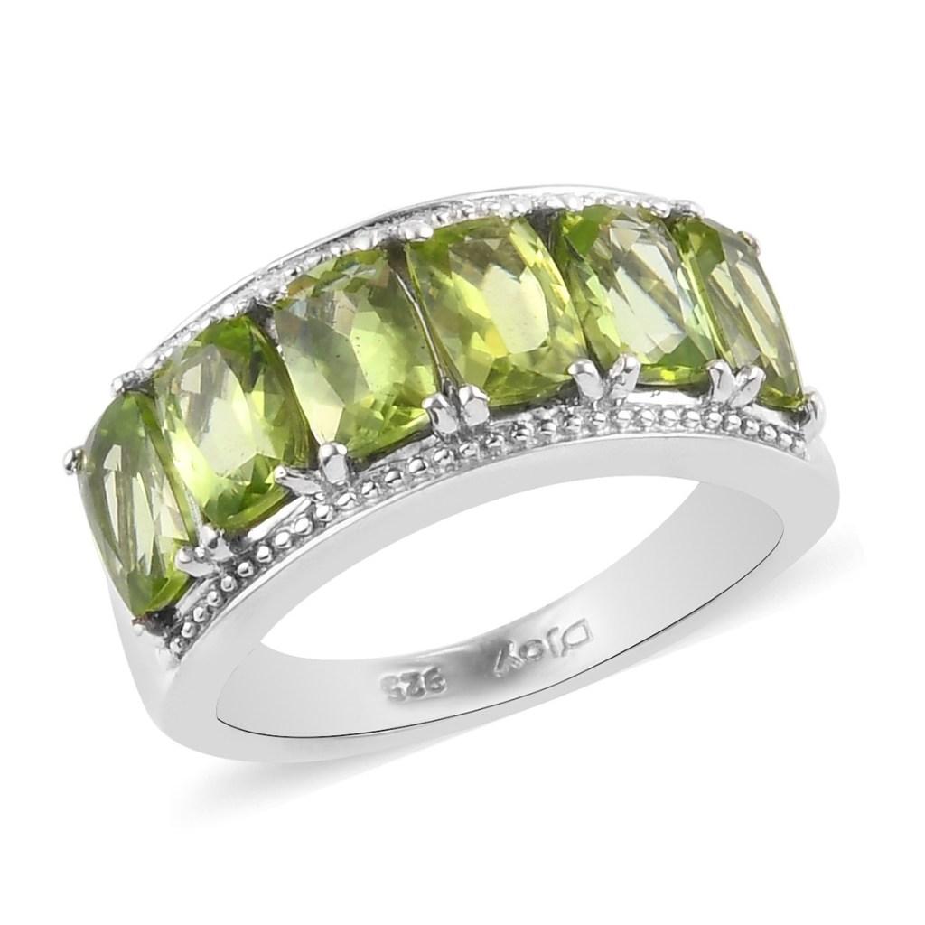 geometric peridot ring