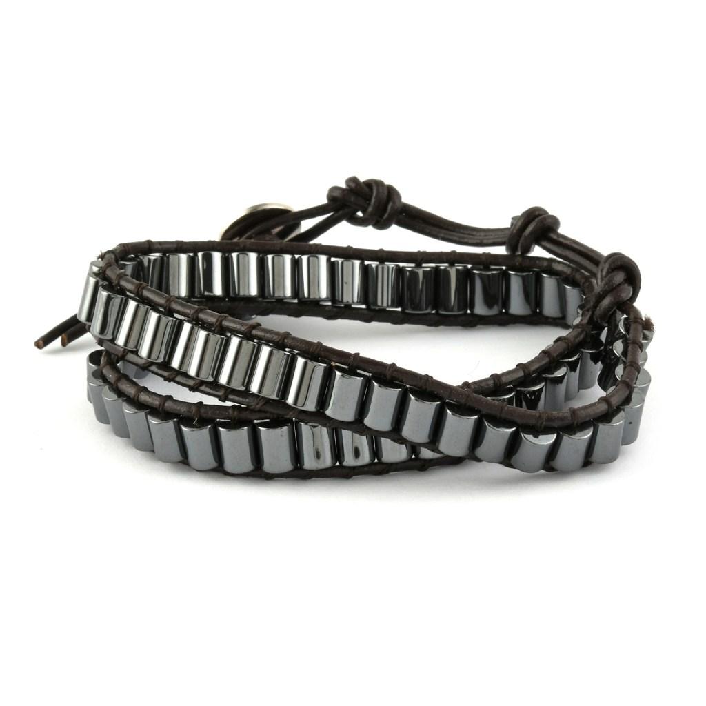 Lulu Dharma hematite bracelet.