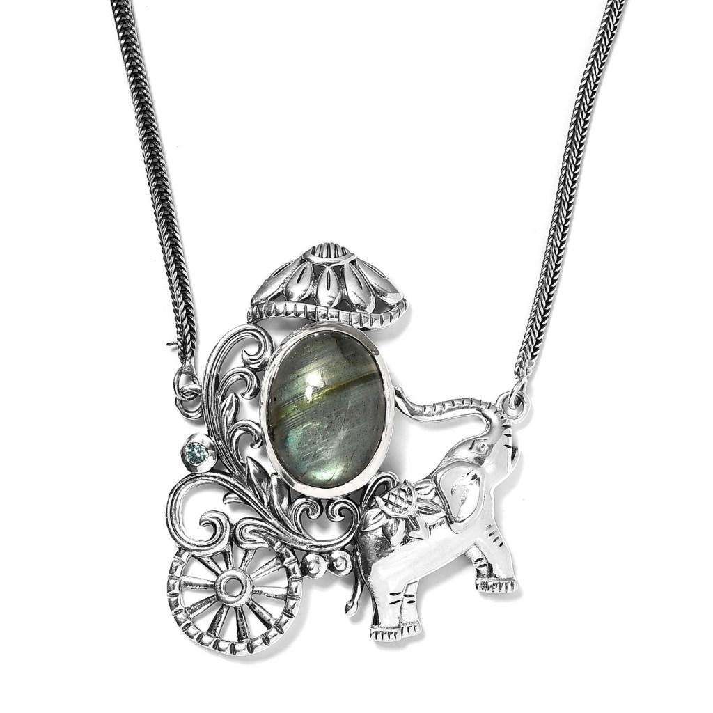 Sterling silver elephant pendant.