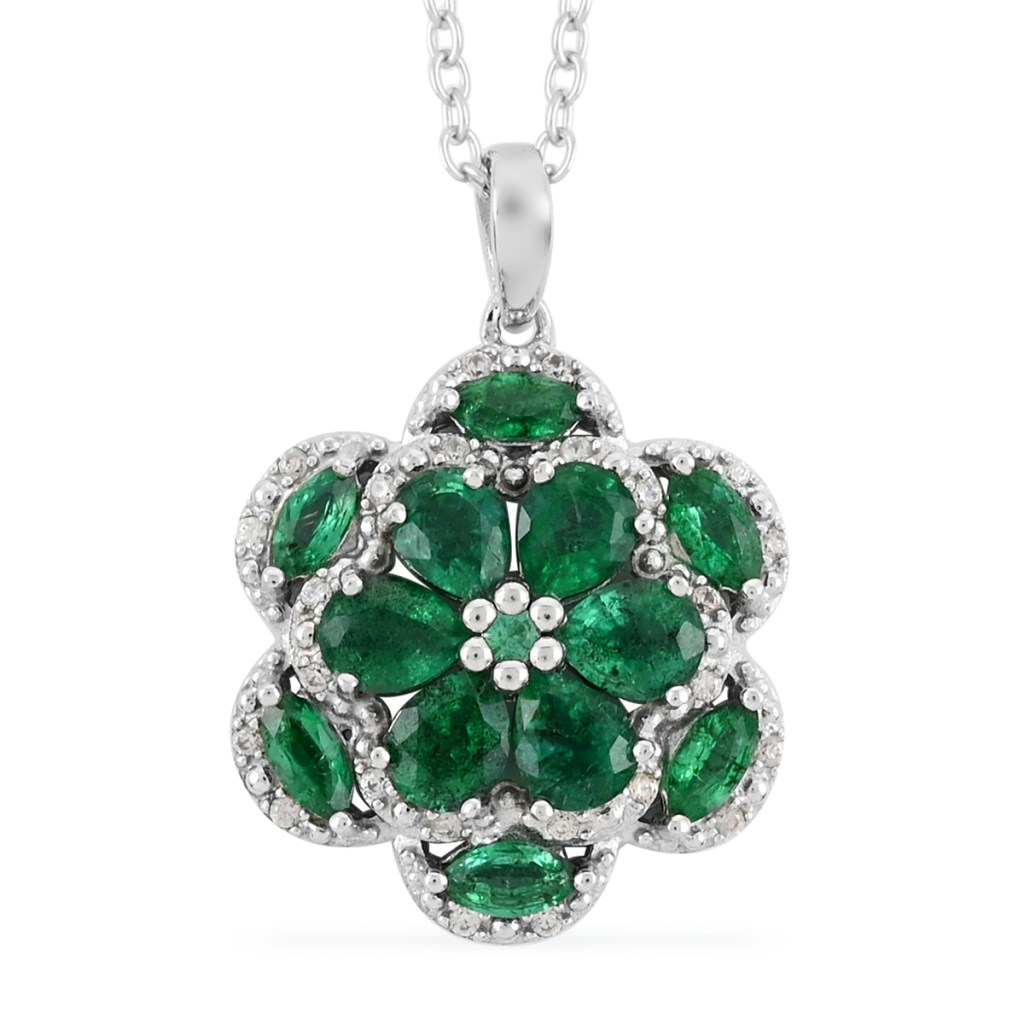 AAA emerald pendant in sterling silver.