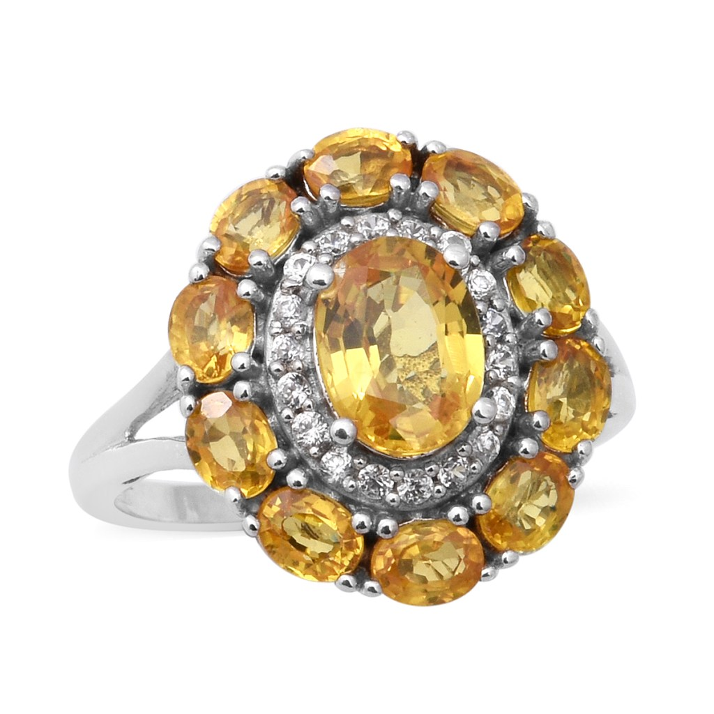 Yellow sapphire floral ring.