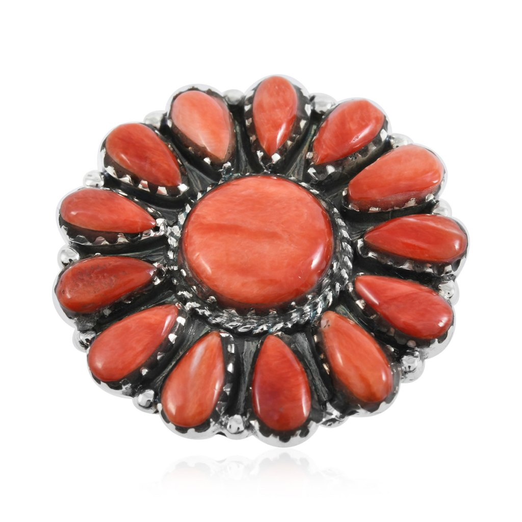 Red spiny oyster ring in sterling silver.