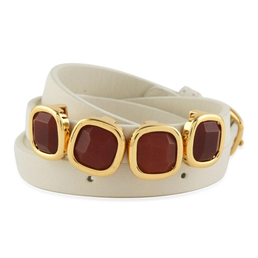 Leather wrap bracelet with red onyx.