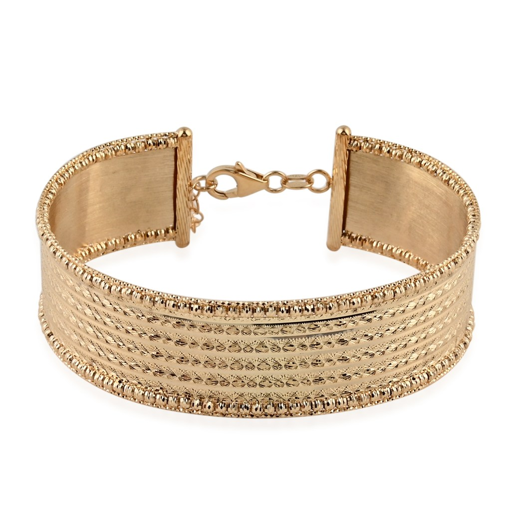 Vicenza Italian Collection Diamond Cut Wide Bangle Bracelet in 10K Yellow Gold