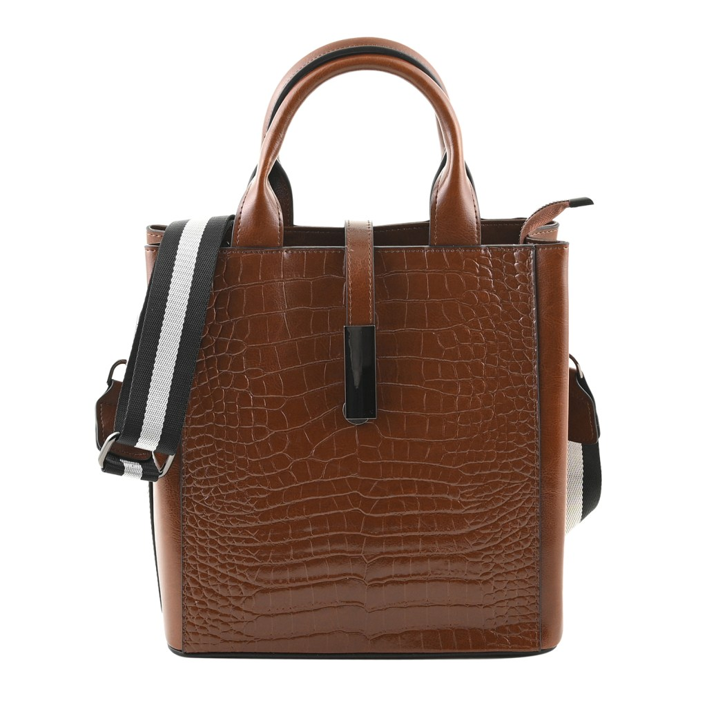 Chocolate leather handbag.