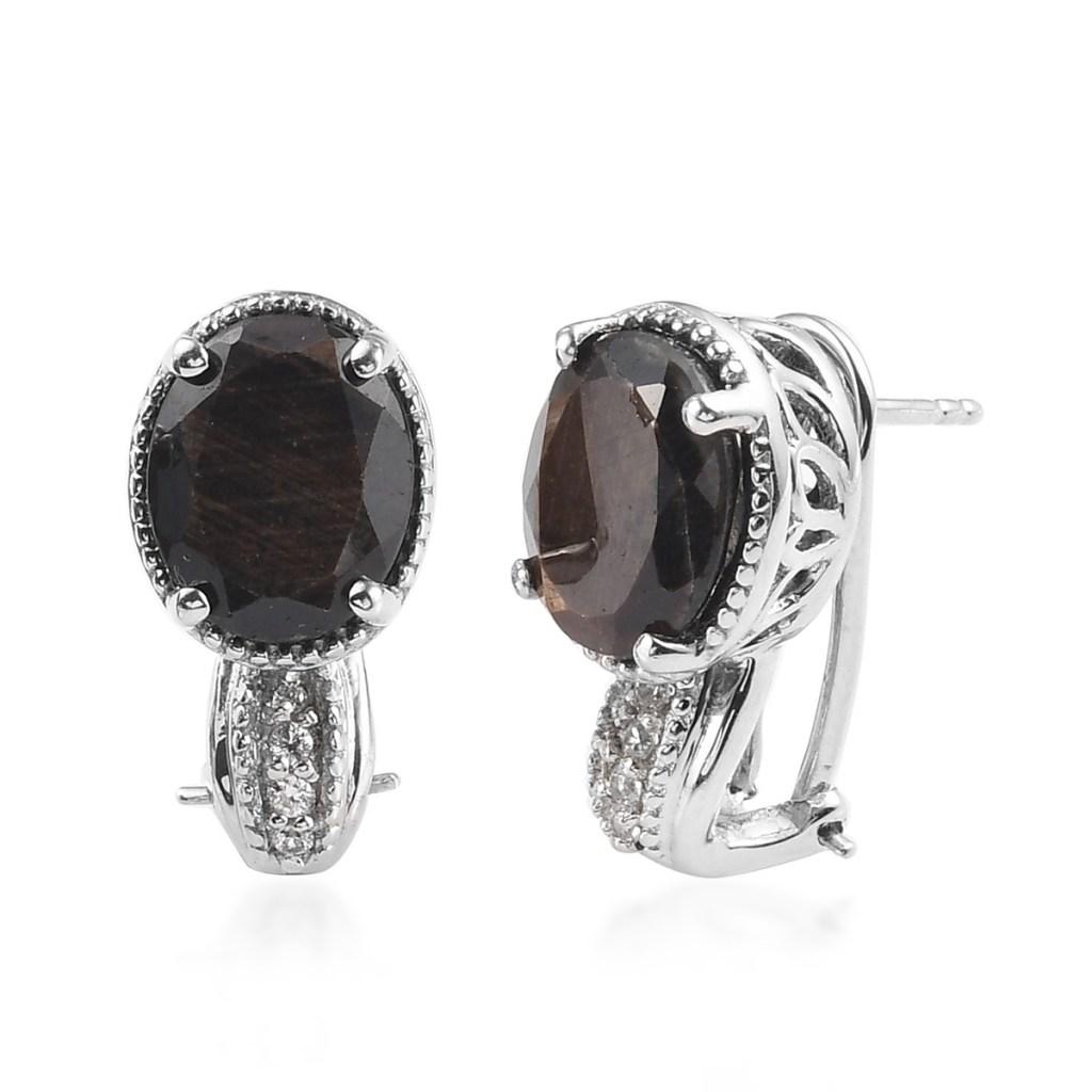 Chocolate sapphire latch back earrings.