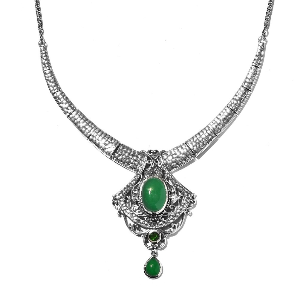 Indian green jade necklace.