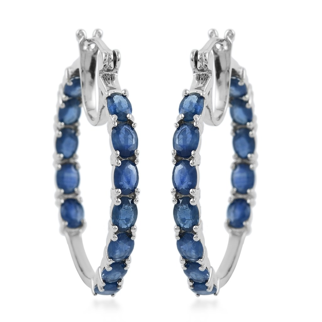 Kanchanaburi Blue Sapphire Inside Out Hoop Earrings in Platinum Over Sterling Silver