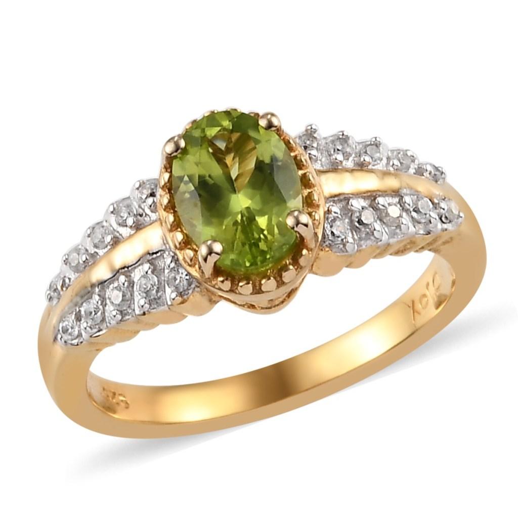 Green gem split shank ring.
