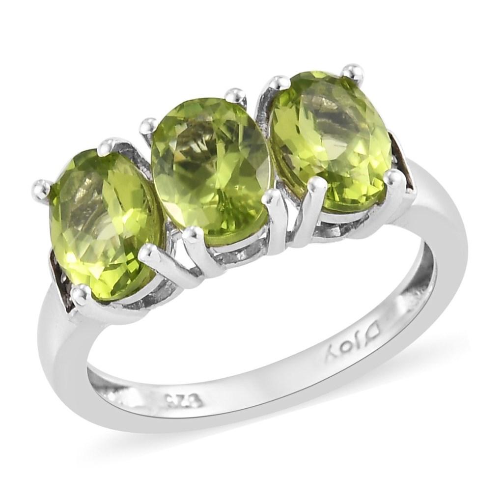Peridot three stone ring.