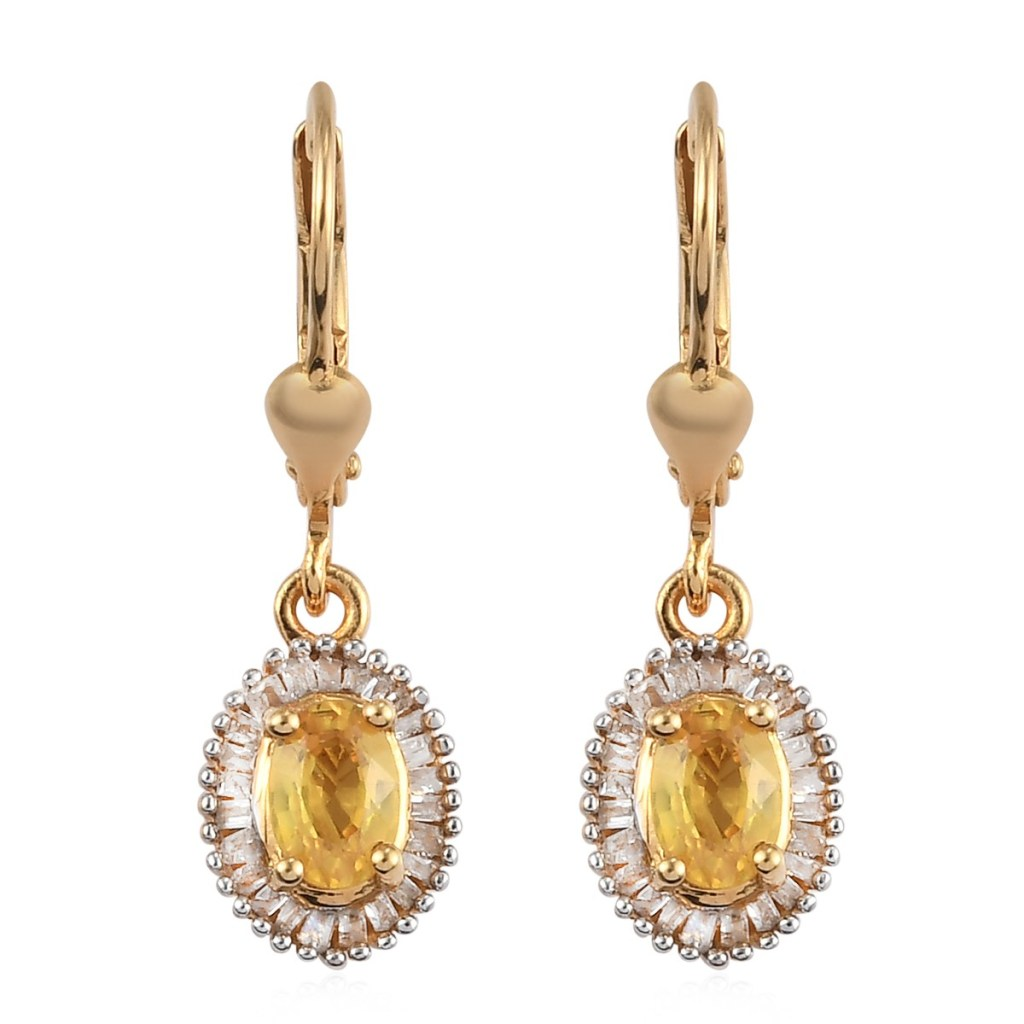 Yellow Sapphire and Diamond Halo Earrings in Vermeil Yellow Gold Over Sterling Silver