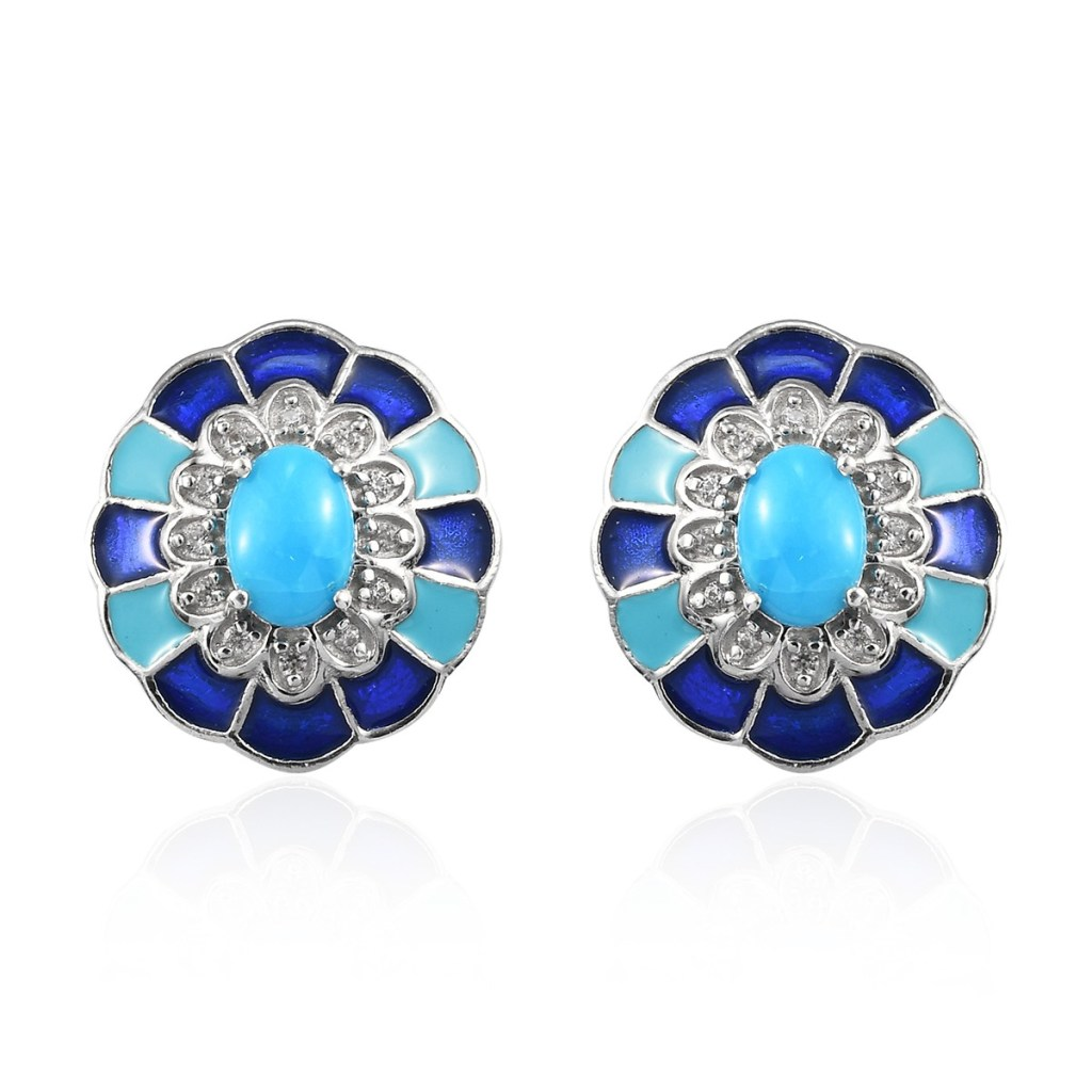 Sleeping Beauty Turquoise and Zircon Earrings in Platinum Over Sterling Silver