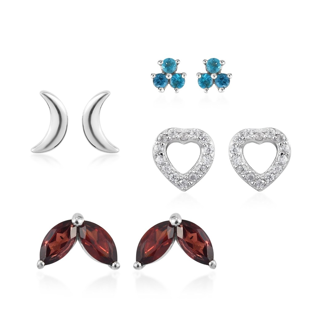 Mozambique Garnet, Malgache Neon Apatite and Zircon Set of 4 Celestial Stud Earrings in Platinum Over Sterling Silver