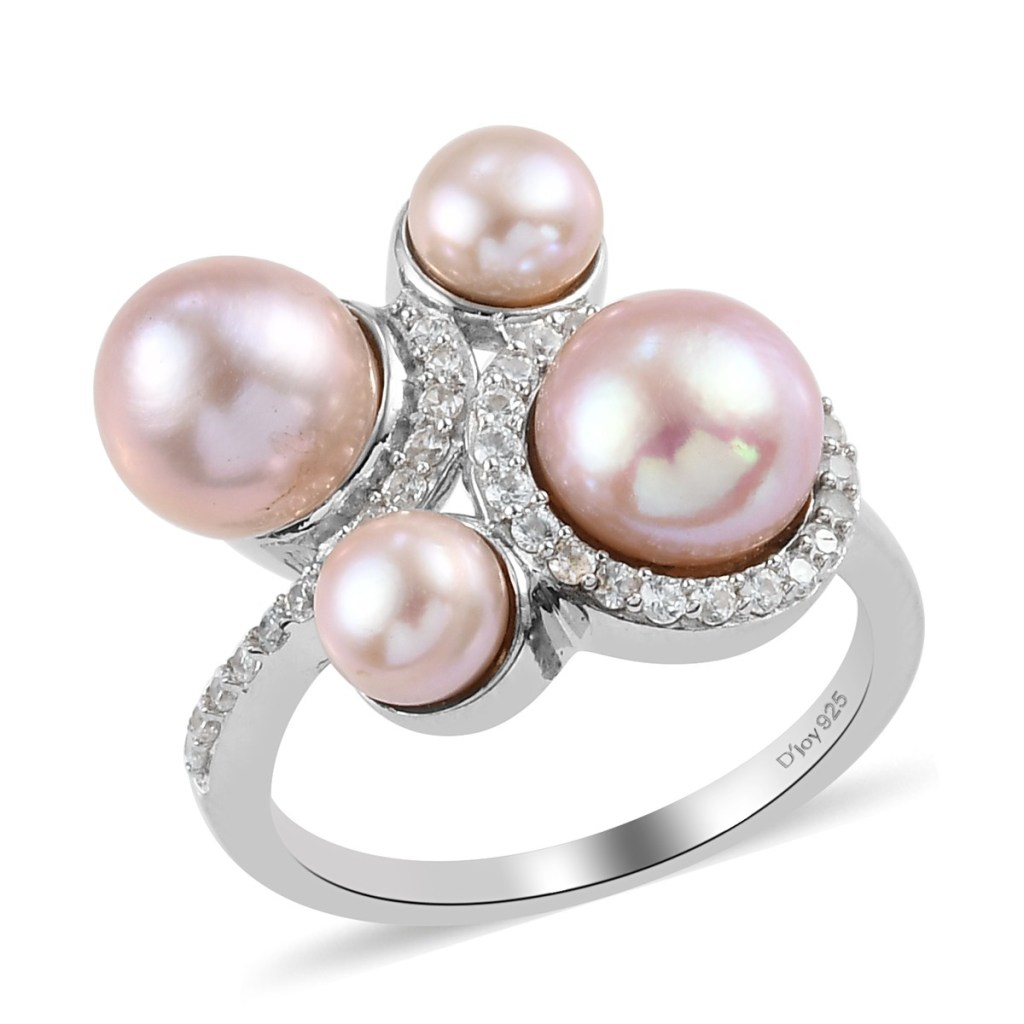 Pink Freshwater Pearl and White Zircon Pearl Ring in Platinum Over Sterling Silver
