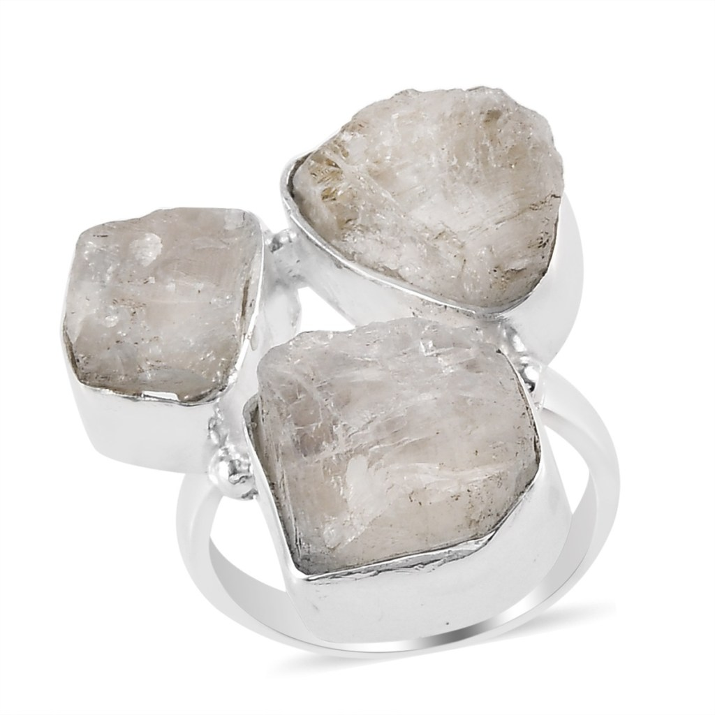 Artisan Crafted Kuisa Rainbow Moonstone 3 Stone Ring in Sterling Silver