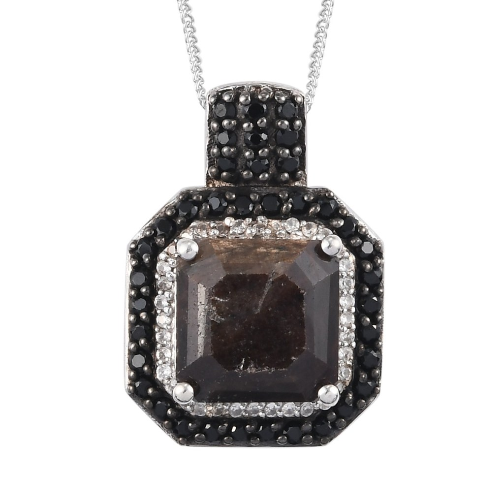 Chocolate Sapphire and Multi Gemstone Pendant Necklace 20 Inches in Platinum Over Sterling Silver
