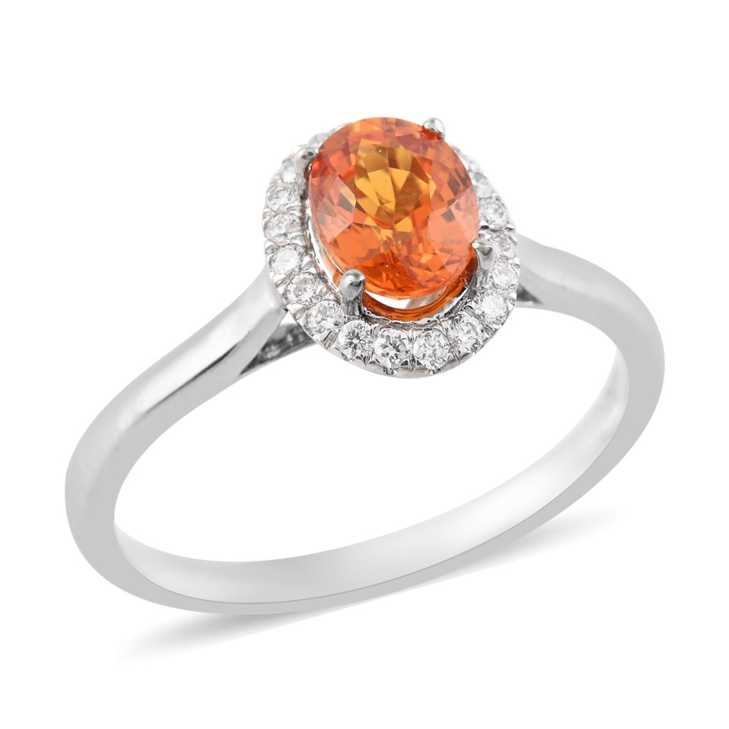 ILIANA AAA Sunset Sapphire and Diamond G-H SI Ring in 18K White Gold