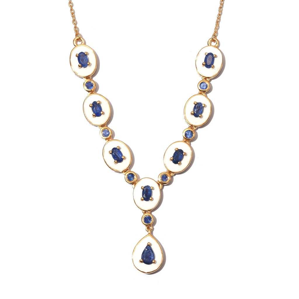Blue Gemstone Necklace 18 Inches in Vermeil Yellow Gold Over Sterling Silver