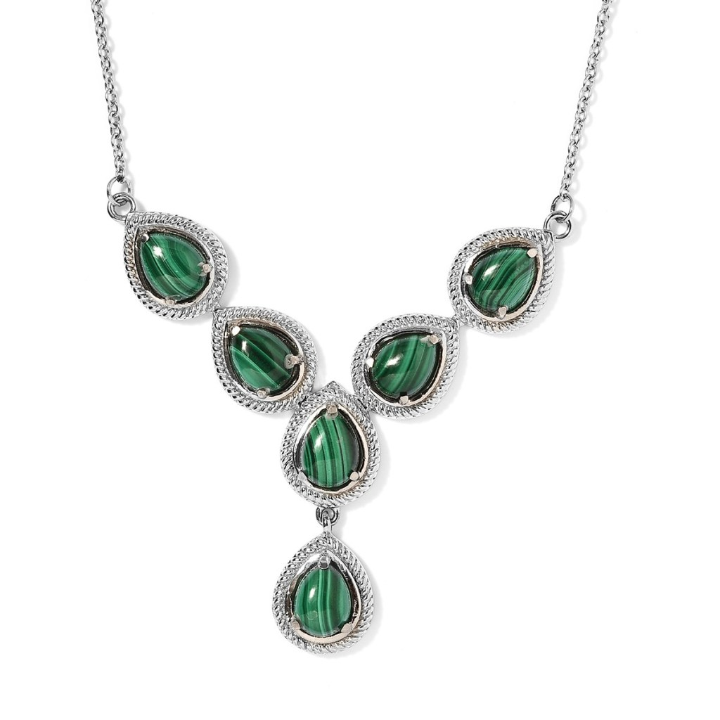African Malachite Necklace 18 Inches in Stainless Steel