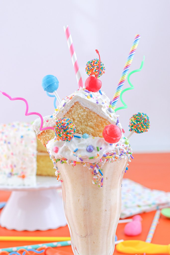 This is a shot of the finished birthday cake milkshake recipe ready to be eaten.